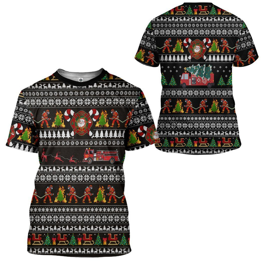 Gearhuman 3D Santa Village Firefighter Ugly Christmas Sweater Custom Tshirt Apparel GV071013 3D T-shirt T-Shirt S