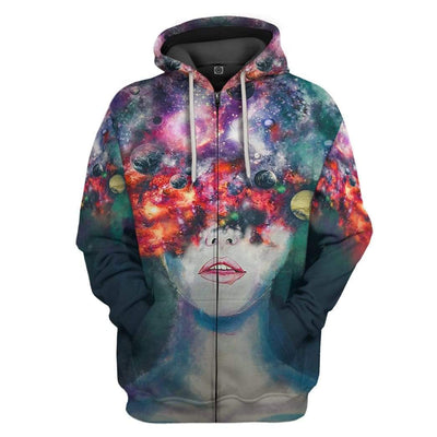 Gearhuman 3D Space Thoughts Custom Fleece Hoodie Apparel GW08041 3D Custom Fleece Hoodies Zip Hoodie S