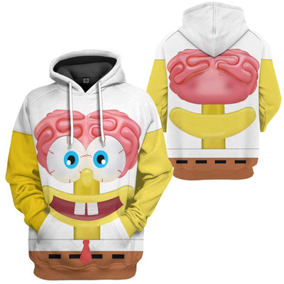 Gearhuman 3D Spongebob Squarepants Glitter Custom Design Hoodie Apparel GM19056 3D Custom Fleece Hoodies