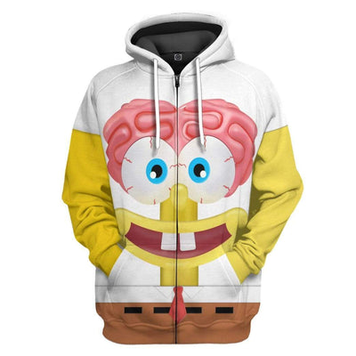 Gearhuman 3D Spongebob Squarepants Glitter Custom Design Hoodie Apparel GM19056 3D Custom Fleece Hoodies Zip Hoodie S