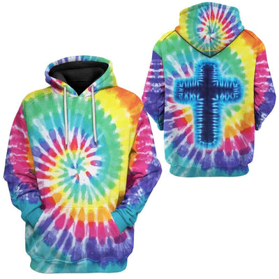 Gearhuman 3D Tie Dye Cross Custom Hoodie Apparel GW15072 3D Custom Fleece Hoodies