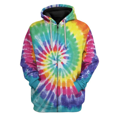 Gearhuman 3D Tie Dye Cross Custom Hoodie Apparel GW15072 3D Custom Fleece Hoodies Zip Hoodie S
