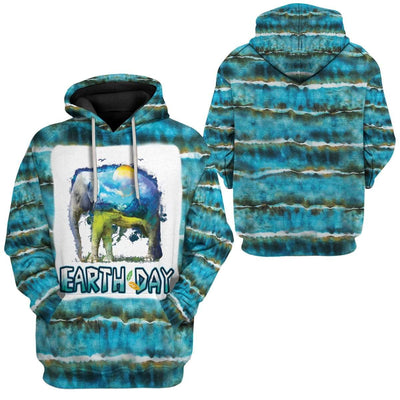 Gearhuman 3D Tie Dye Earth Day 50th Anniversary Custom Fleece Hoodie Apparel GT13031 3D Custom Fleece Hoodies