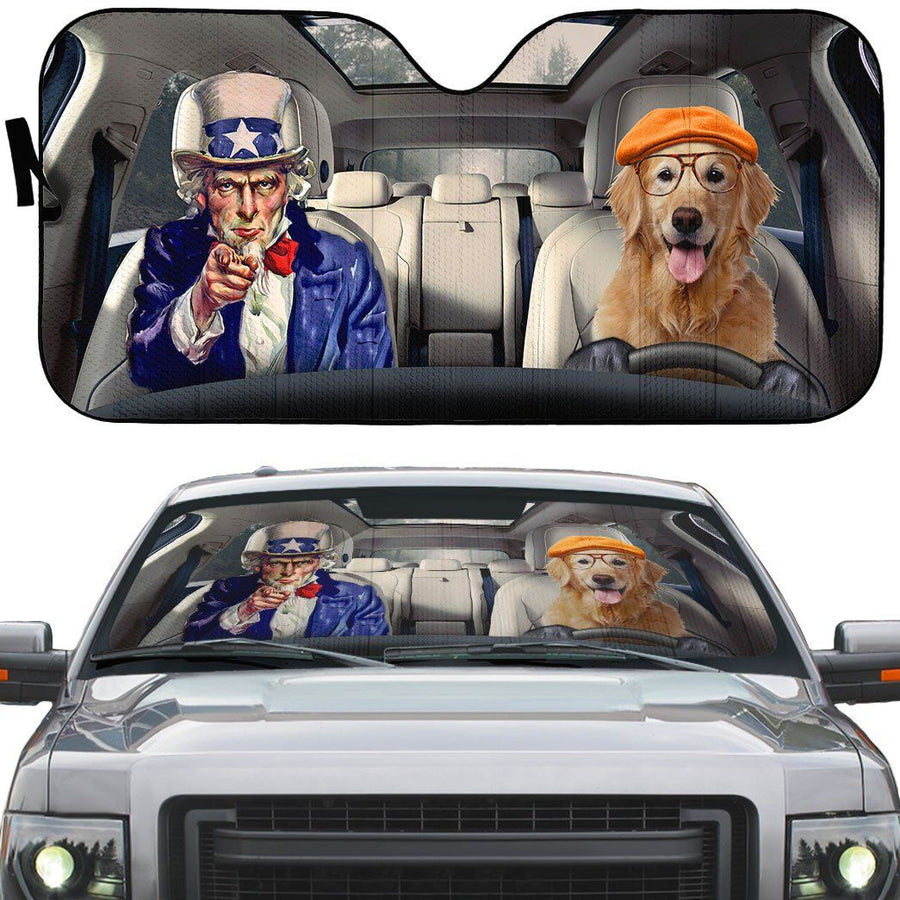 Gearhuman 3D Uncle Sam And Golden Retriever Custom Car Auto Sunshade GV010914 Auto Sunshade 57''x27.5''