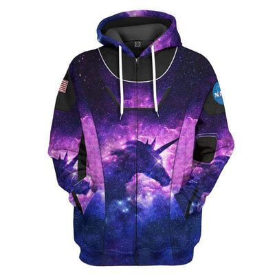 Gearhuman 3D Unicorn SpaceX Spacesuit Custom Hoodie Apparel GL10062 3D Custom Fleece Hoodies Zip Hoodie S
