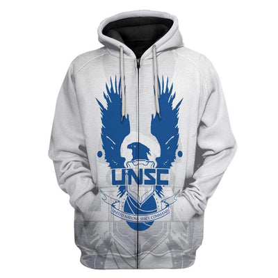 Gearhuman 3D UNSC Halo Infinite Custom Hoodie Apparel GS31075 3D Custom Fleece Hoodies Zip Hoodie S