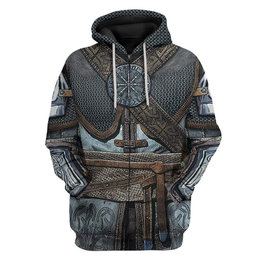 Gearhuman 3D Vikings Armor Custom Fleece Hoodies Apparel GM28021 3D Custom Fleece Hoodies Hoodie S