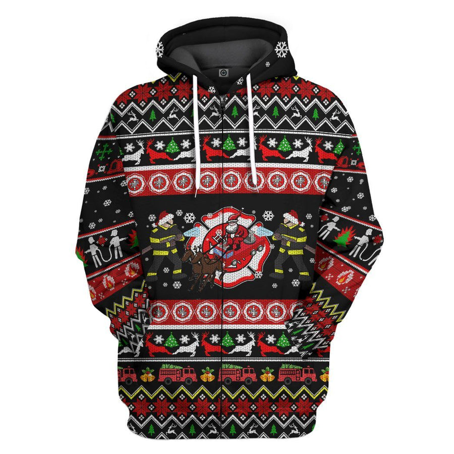 Gearhuman 3D Xmas Firefighter Ugly Christmas Sweater Custom Hoodie Apparel GV071011 3D Apparel Hoodie S