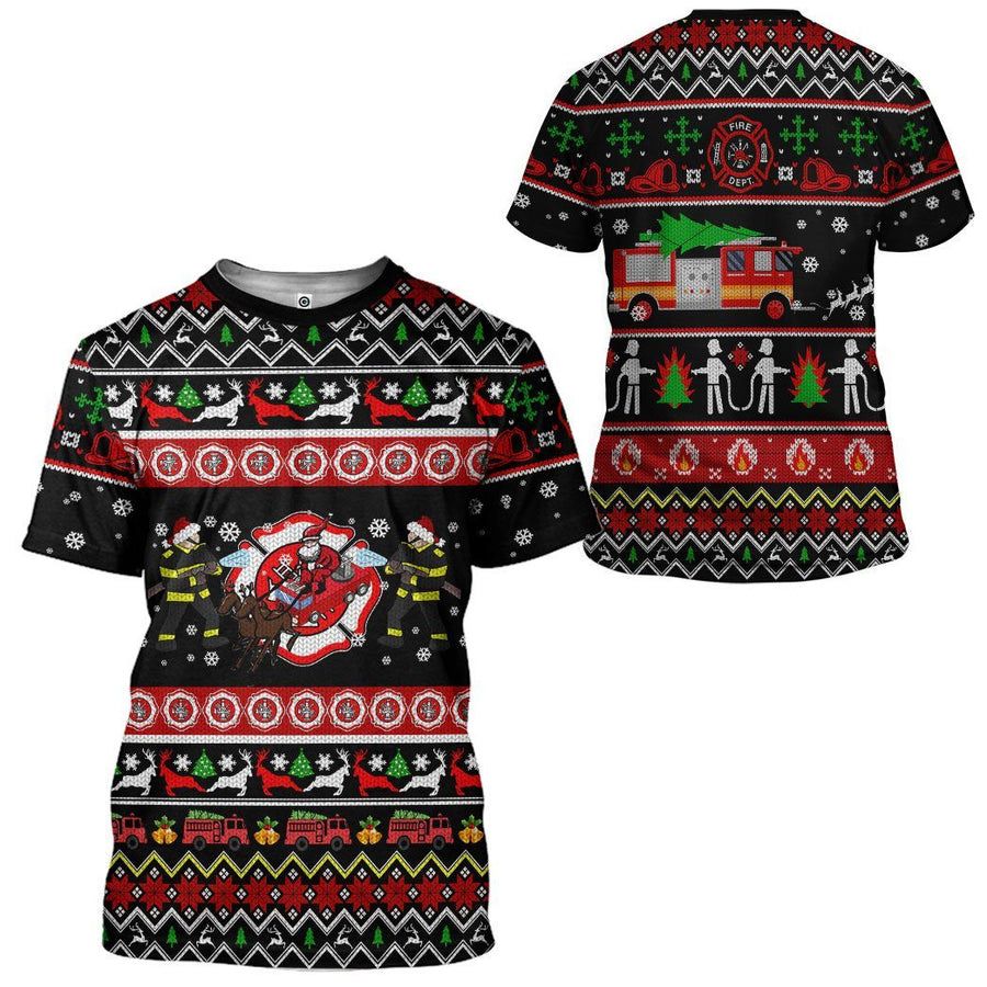 Gearhuman 3D Xmas Firefighter Ugly Christmas Sweater Custom Tshirt Apparel GV071011 3D T-shirt T-Shirt S