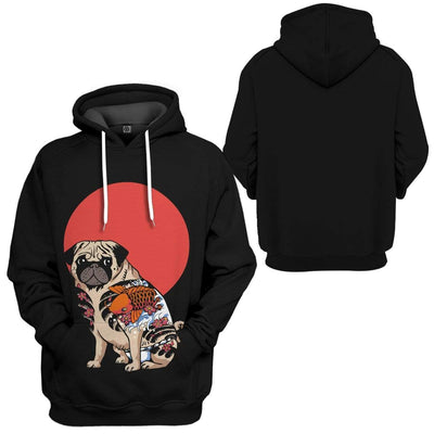 Gearhuman 3D Yakuza Pug Custom Hoodie Apparel GN17082 3D Custom Fleece Hoodies