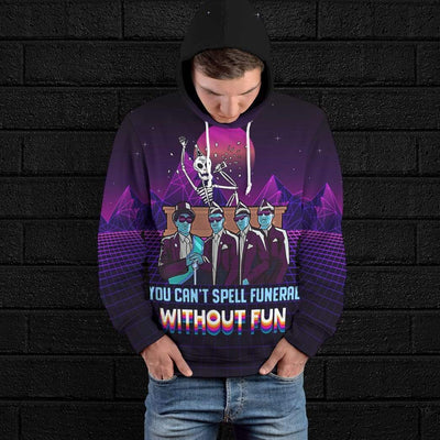 Gearhuman 3D You Cant Spell Funeral Without Fun Custom Fleece Hoodie Apparel GW230414 3D Custom Fleece Hoodies