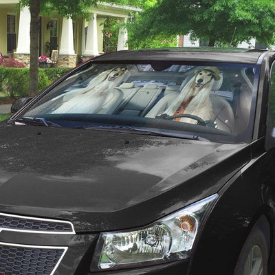 gearhumans 3D Afghan Hound Dog Custom Car Auto Sunshade GW270720 Auto Sunshade
