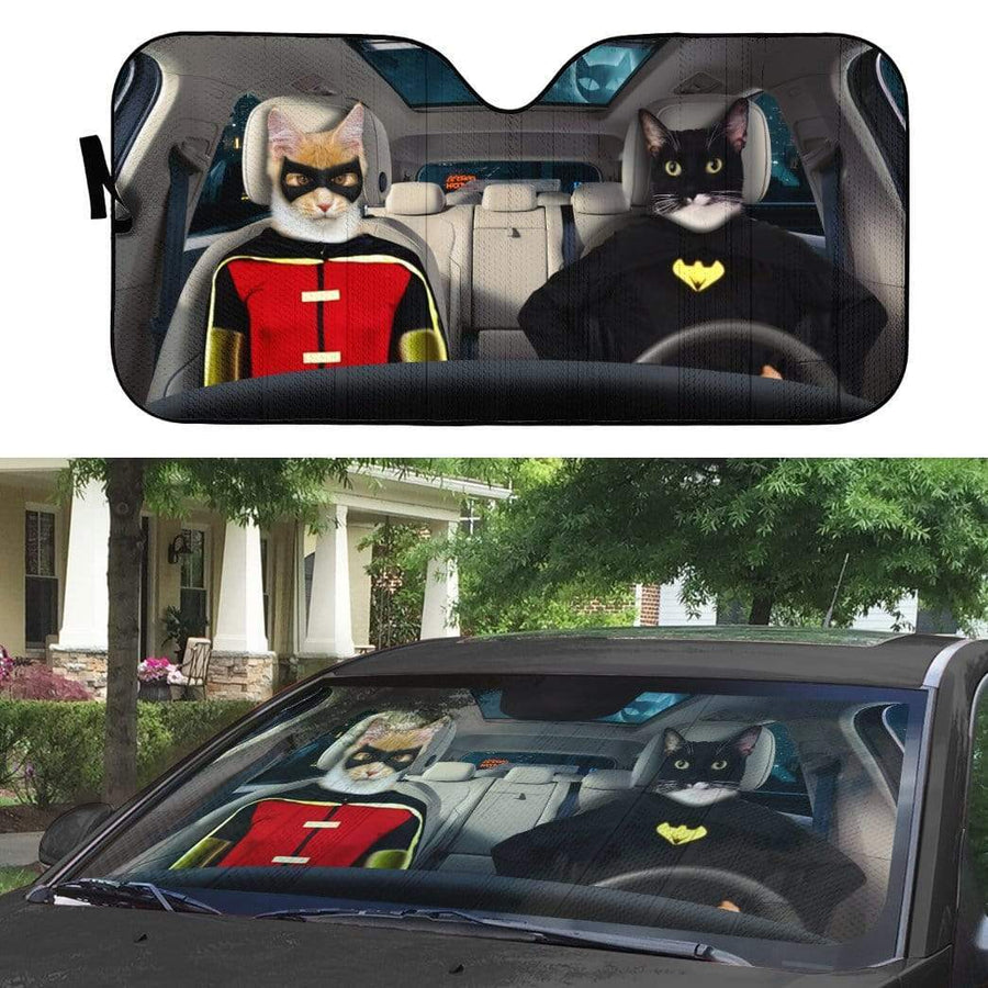 gearhumans 3D Batman and Robin Custom Car Auto Sunshade GL14051 Auto Sunshade 57''x27.5''