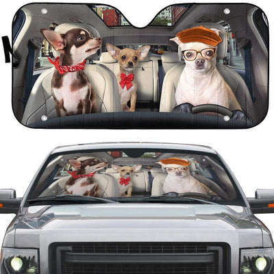 gearhumans 3D Chihuahua Custom Car Auto Sunshade GS30075 Auto Sunshade