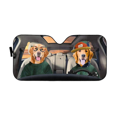 gearhumans 3D Cool Couple Golden Retrievers Custom Car Auto Sunshade GV09064 Auto Sunshade 57''x27.5''