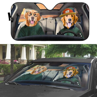 gearhumans 3D Cool Couple Golden Retrievers Custom Car Auto Sunshade GV09064 Auto Sunshade