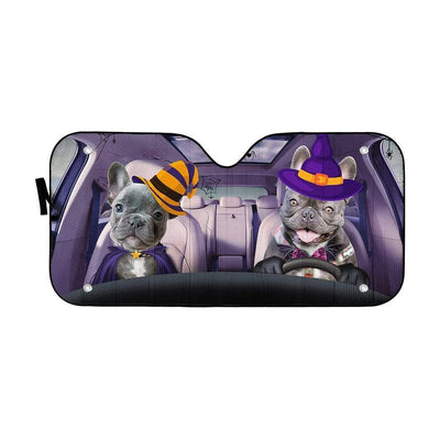gearhumans 3D Couple Bulldogs Hallowen Custom Car Auto Sunshade GV030823 Auto Sunshade 57''x27.5''