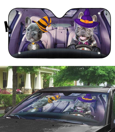 gearhumans 3D Couple Bulldogs Hallowen Custom Car Auto Sunshade GV030823 Auto Sunshade