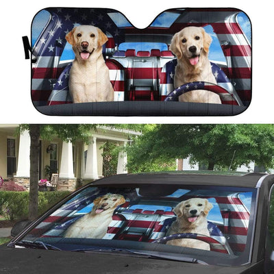 gearhumans 3D Cute Labrador Retriever Custom Car Auto Sunshade GL29051 Auto Sunshade