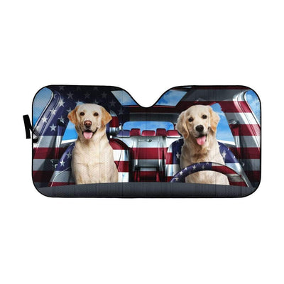 gearhumans 3D Cute Labrador Retriever Custom Car Auto Sunshade GL29051 Auto Sunshade 57''x27.5''