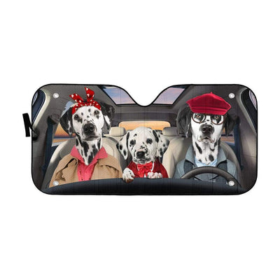 gearhumans 3D Dalmatian Family Custom Car Auto Sunshade GL18058 Auto Sunshade 57''x27.5''
