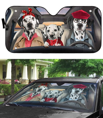 gearhumans 3D Dalmatian Family Custom Car Auto Sunshade GL18058 Auto Sunshade