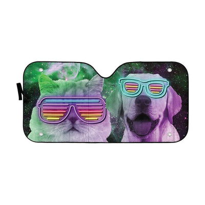 gearhumans 3D DJ Labrador retriever and Persian Custom Car Auto Sunshade GD120517 Auto Sunshade 57''x27.5''