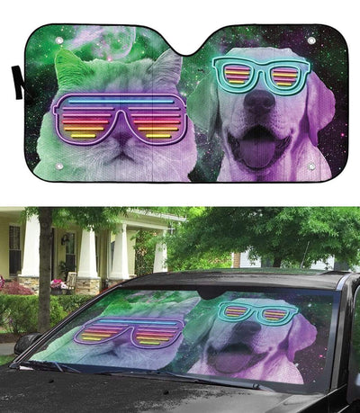gearhumans 3D DJ Labrador retriever and Persian Custom Car Auto Sunshade GD120517 Auto Sunshade