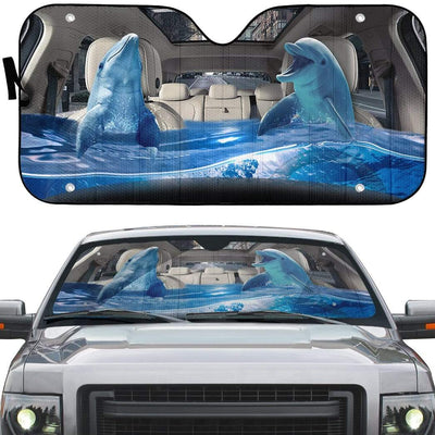 gearhumans 3D Dolphins Custom Car Auto Sunshade GS23067 Auto Sunshade