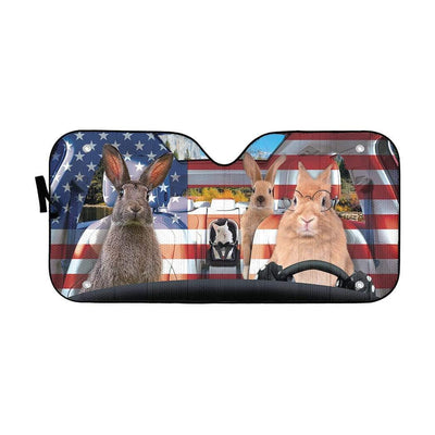 gearhumans 3D Family Rabits America Custom Car Auto Sunshade GL06074 Auto Sunshade 57''x27.5''