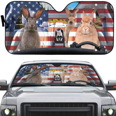 gearhumans 3D Family Rabits America Custom Car Auto Sunshade GL06074 Auto Sunshade