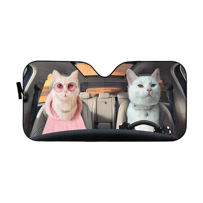 gearhumans 3D Fashion Couple White Cats Custom Car Auto Sunshade GV09066 Auto Sunshade 57''x27.5''