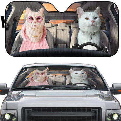 gearhumans 3D Fashion Couple White Cats Custom Car Auto Sunshade GV09066 Auto Sunshade