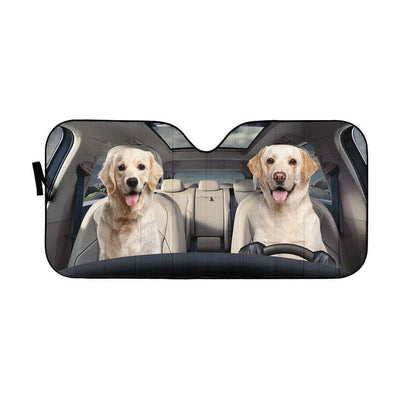 gearhumans 3D Golden Labrador Retriever Custom Car Auto Sunshade GS1702 Auto Sunshade 57''x27.5''