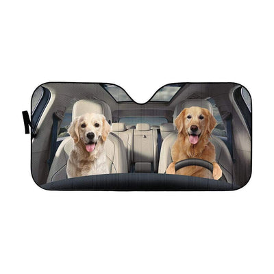 gearhumans 3D Golden Retriever Custom Car Auto Sunshade GW16075 Auto Sunshade 57''x27.5''