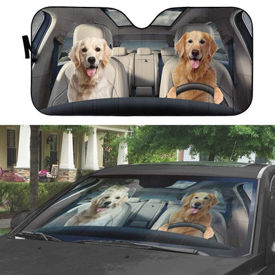 gearhumans 3D Golden Retriever Custom Car Auto Sunshade GW16075 Auto Sunshade