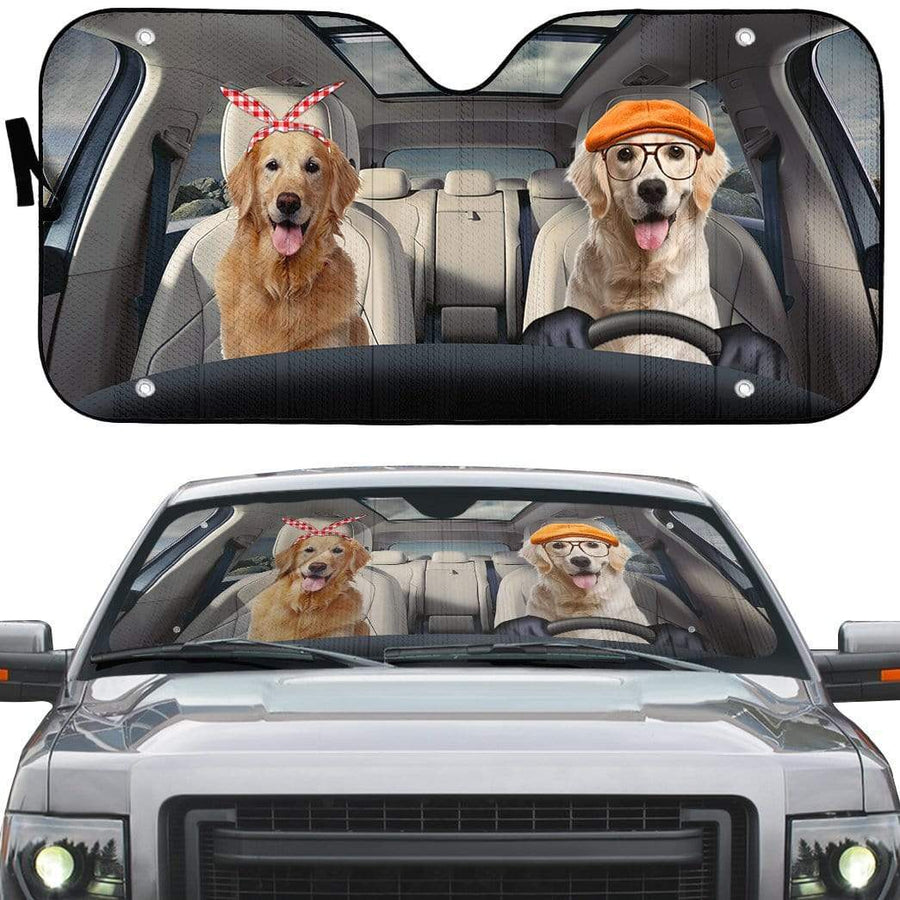 gearhumans 3D Golden Retriever Family Dog Custom Car Auto Sunshade GW04061 Auto Sunshade 57''x27.5''