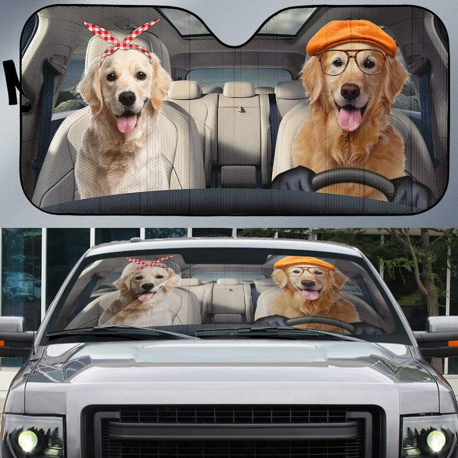 gearhumans 3D Golden Retrievers Family Dog Custom Car Auto Sunshade GW22046 Auto Sunshade 57''x27.5''