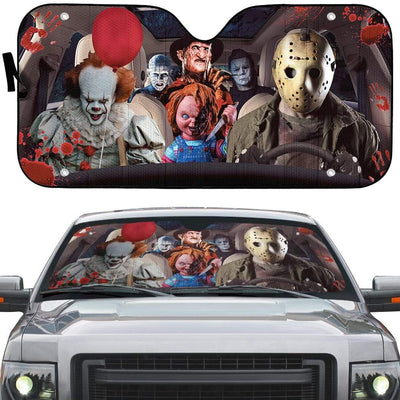 gearhumans 3D Hallowen Horror Movies Custom Car Auto Sunshade GV030816 Auto Sunshade