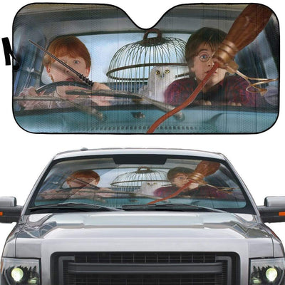 gearhumans 3D Harry And Ron Driver Custom Car Auto Sunshade GL10068 Auto Sunshade