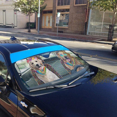 gearhumans 3D Hippie Golden Retriever Custom Car Auto Sunshade GW220612 Auto Sunshade