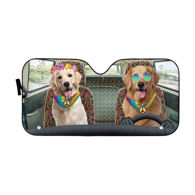 gearhumans 3D Hippie Golden Retriever Custom Car Auto Sunshade GW220612 Auto Sunshade 57''x27.5''