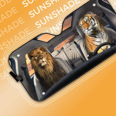 gearhumans 3D Lion & Tiger Custom Car Auto Sunshade GS23061 Auto Sunshade