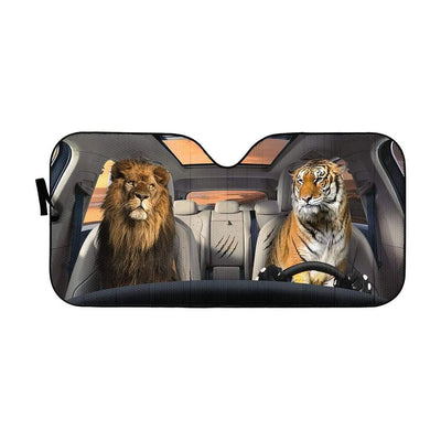 gearhumans 3D Lion & Tiger Custom Car Auto Sunshade GS23061 Auto Sunshade 57''x27.5''