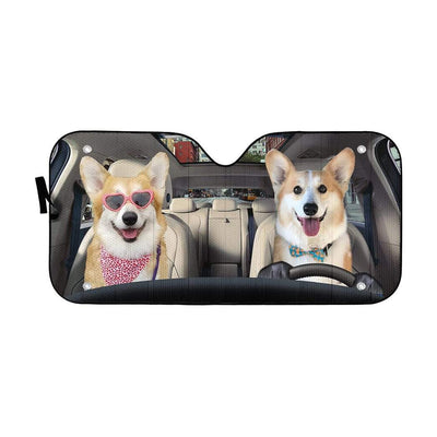 gearhumans 3D Love Corgi Dogs In Car Custom Car Auto Sunshade GV230619 Auto Sunshade 57''x27.5''