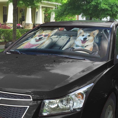 gearhumans 3D Love Corgi Dogs In Car Custom Car Auto Sunshade GV230619 Auto Sunshade