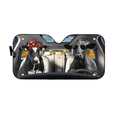 gearhumans 3D Love Couple Cattle Cow Custom Car Auto Sunshade GV230613 Auto Sunshade 57''x27.5''