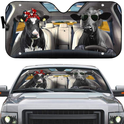 gearhumans 3D Love Couple Cattle Cow Custom Car Auto Sunshade GV230613 Auto Sunshade