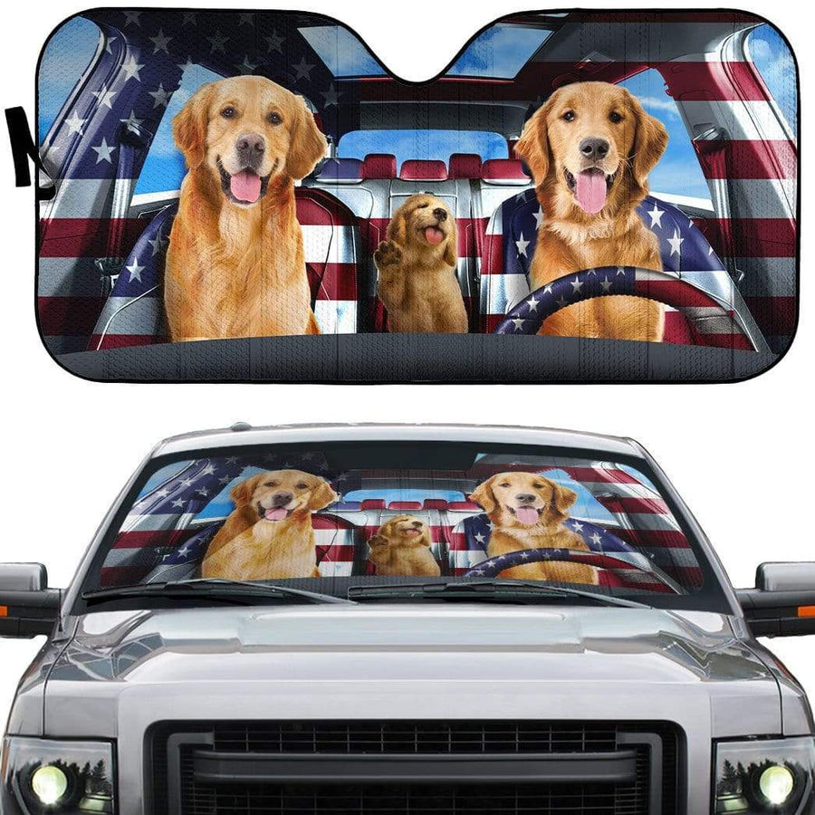 gearhumans 3D Lovely Golden Retriever Custom Car Auto Sunshade GL29052 Auto Sunshade 57''x27.5''