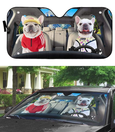 gearhumans 3D Loving White Bulldogs Couple Custom Car Auto Sunshade GV17067 Auto Sunshade